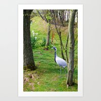 crane Art Prints featuring Crane. by Samuel Bridgeman