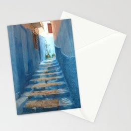Narrow Blue Stairway in Morocco Stationery Cards