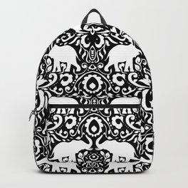Elephant Damask Black and White Backpack