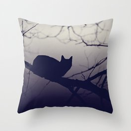 Mistery cat perching on tree in misty night Throw Pillow
