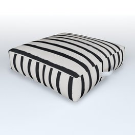 Vertical Black and White Watercolor Stripes Outdoor Floor Cushion