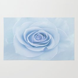 Soft Baby Blue Rose Abstract Rug