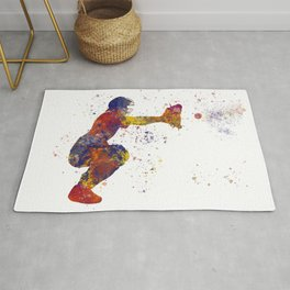 Baseball player isolated 08 in watercolor Rug