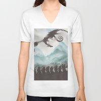smaug V-neck T-shirts featuring The Desolation of Smaug by JadeJonesArt