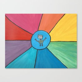Love Robot in a Circle of Rainbow Rays Canvas Print