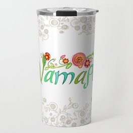 Namaste_Yoga Girls_ Flower Vines Gray_RobinPickens Travel Mug