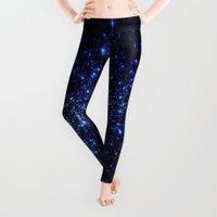 stars Leggings featuring Dark Blue Stars by Space & Galaxy Dreams