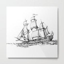 sailing ship . Home decor Graphicdesign Metal Print