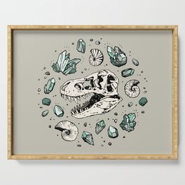 Geo-rex Vortex | Aquamarine | Dinosaur Skull Fossil Art Serving Tray