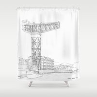 titan Shower Curtains featuring Titan Crane by Grambo
