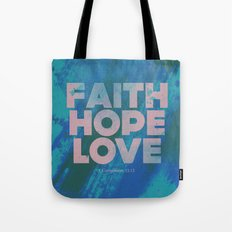 Faith,Hope,Love (Pink) Tote Bag