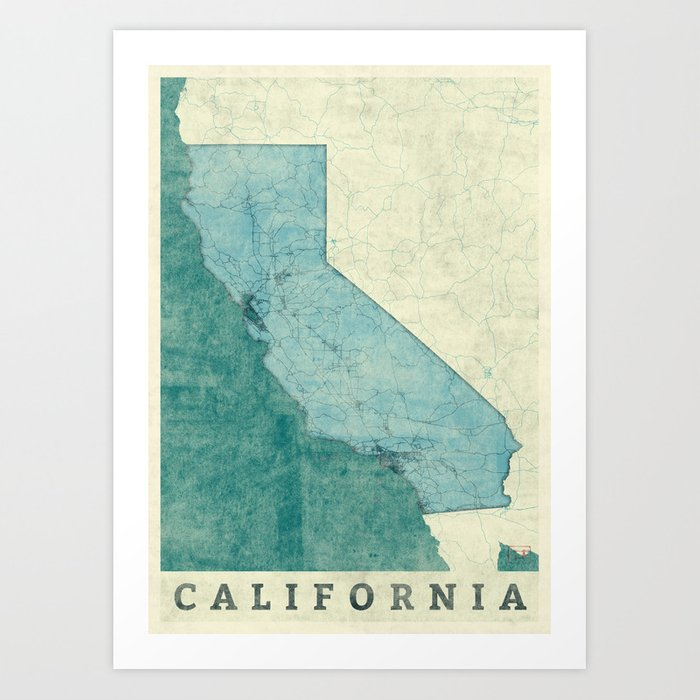 California State Map Blue Vintage Art Print by hubertroguski Society6