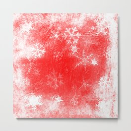 Red texture and snowflakes for Christmas Metal Print