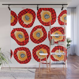 Irregular Red Circles with Black Cross Hatch Yellow Orange and Black Center. Wall Mural