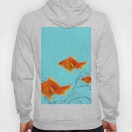 THREE GOLDFISH IN AQUA WATER ABSTRACT ART Hoody