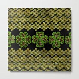 Shamrock Four-leaf clover with Triquetra Metal Print