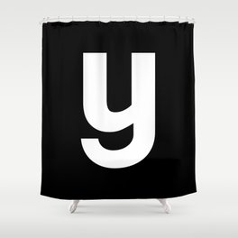 letter Y (White & Black) Shower Curtain