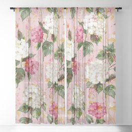 Vintage green pink white bohemian hortensia flowers Sheer Curtain