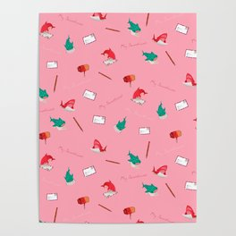 Pink Shark and Whale Shark Poster