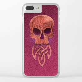 Scull With a Tribal Beard in Red Clear iPhone Case