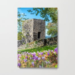 Square stone tower along medieval rampart in flowered meadow Metal Print