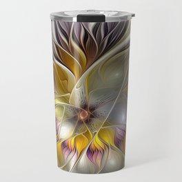 Abstract Fantasy Flower Fractal Art Travel Mug
