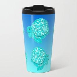 Teal Sea Turtles Blue & Aqua Pattern Travel Mug