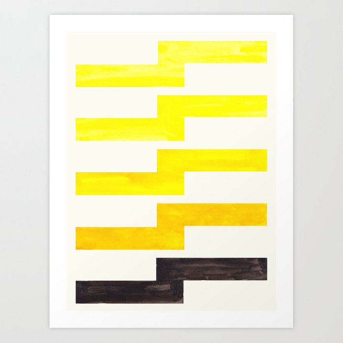 Yellow Watercolor Geometric Pattern Lightning Bolt Art Print By Enshape Society6