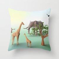 africa Throw Pillows featuring Africa by CharismArt