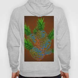 ABSTRACT COFFEE BROWN TROPICAL PINEAPPLES DESIGN Hoody
