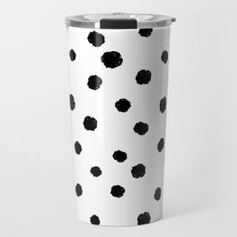 Hand-Drawn Dots (Black & White Pattern) Travel Mug