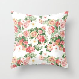 Roselyn Floral - White Throw Pillow