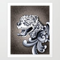 pit bull Art Prints featuring Ornamental Pit Bull by Pretty In Ink