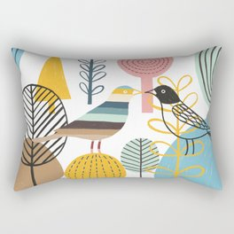 Two Kissing Birds in the Woods Rectangular Pillow
