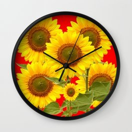 YELLOW-GREEN SUNFLOWERS RED COLOR Wall Clock