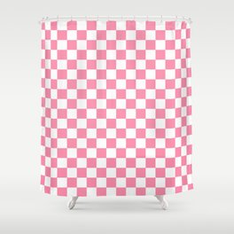 Small Checkered - White and Flamingo Pink Shower Curtain