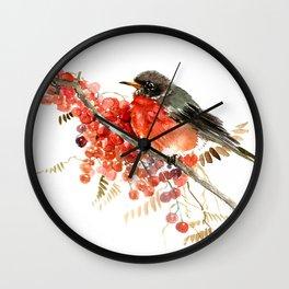 American Robin and Berries Wall Clock