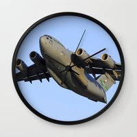 aviation Wall Clocks featuring C-17 Globemaster Aviation USAF Take Off by Aviator