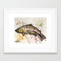 trout Framed Art Prints featuring brown trout by Tricia Kibler