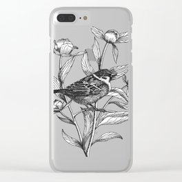 sparrow on peonies Clear iPhone Case