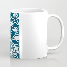 Geometric Floral Pattern in Graphic Bold Blue Coffee Mug