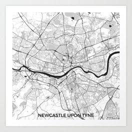 Newcastle upon Tyne Map Gray Art Print