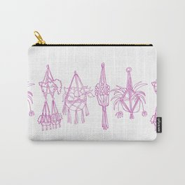 Macrame Plants - Magenta on White Carry-All Pouch