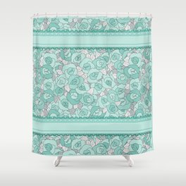 Retro Roses with lace Shower Curtain