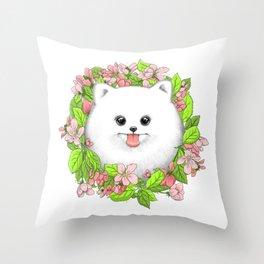 Pomeranian in flowers Throw Pillow