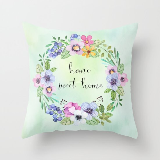 home sweet home-green Throw Pillow