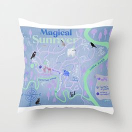 Sunriver Secret Magical Illustrated Map  Throw Pillow