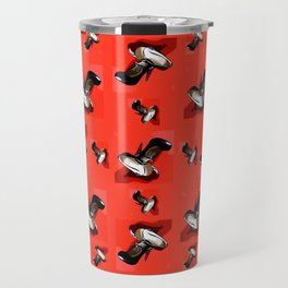 Black Pumps Pattern On Red Travel Mug