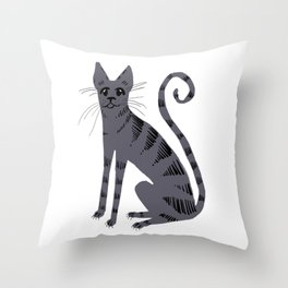 Grey Tabby Cat Throw Pillow