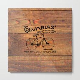 Black Brown Vintage American Bicycle on Wood Print Metal Print